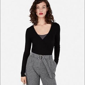 Express Wide Ribbed Surplice Fitted Sweater
